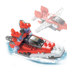61pcs Large Building Blocks Helicopter Boats Model Bricks Toys  Birthday Gift Aircraft Military boat Warships model for children