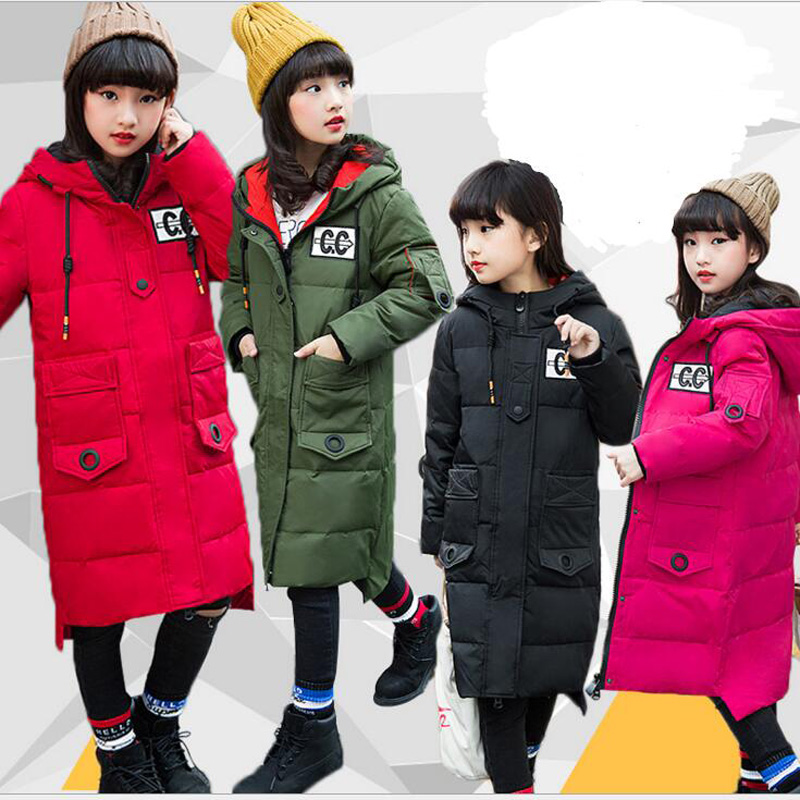 Childrens Down Jackets 90% white Duck Down coats for girls X-Long hooded outwear casual kids outdoor warm jackets for 5-12Years<br>