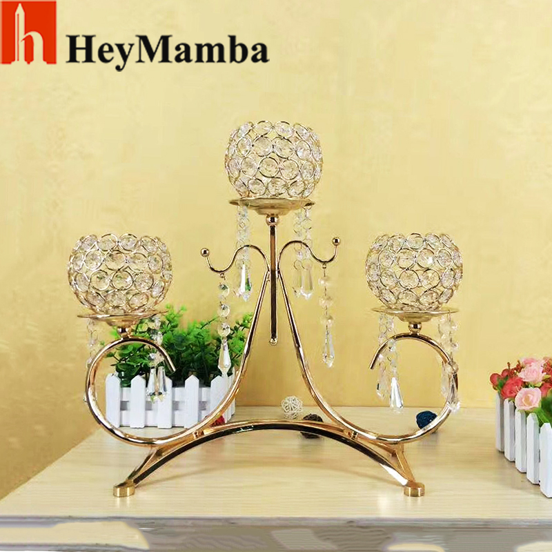 heymamba 10pcs crystal table candelabras metal candle holder for wedding decoration table
