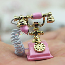 Mini Antique Rotary Telephone Old Period Phone Metal Pink Dollhouse Miniature 1:12(China)