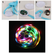 2018 Novely Light Colourful 1 Pair New LED Shoelaces Luminous Flashing Shoe Laces Disco Party Light Up Glow Nylon Strap