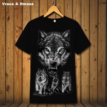 Personality 3D animal pattern printing group wolf fashion short sleeve t-shirt Summer 2017 soft breathable quality t shirt men(China)