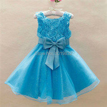 Girls Rosette Top Dress,Turquoise Rose Chiffon Dresses,Children Elegent Evening Dresses