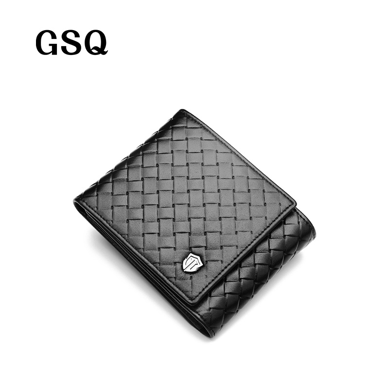 GSQ Fashion Knitting Genuine Leather Men Short Wallet 2017 High Quality Promotion Money Clip Top Cowhide Purse Best Gift Q411-3<br><br>Aliexpress