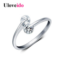 Uloveido Resizable Rings for Women Ring Female Zircon Jewellery Aneis Femininos Crystal Anel Anillo Gifts for the New Year Y081(China)
