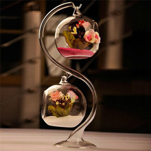 Hot Terrarium Glass Containers Hanging Vase Transparent Round Flower Plant Stand Office Wedding Home Decoration Accessories