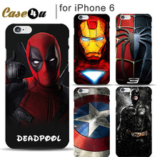 Marvel Superhero Super Man Avengers Mobile Phone Deadpool Cover for iPhone 6 6s Case Batman Captain America Shield 10 Designs