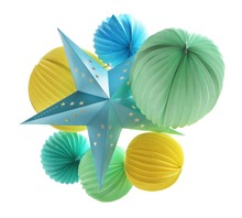 Sunbeauty 7pcs a set Summer Party Supplies Blue Paper, Green and Yellow Paper Lantern Hawaiian Birthday Bridal Show Pool Party