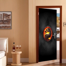 Free shipping Fire Dragon Wall Stickers DIY Mural Bedroom Home Decor Poster PVC Waterproof Door Sticker 77x200cm(China)