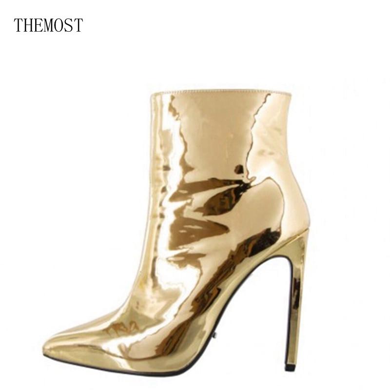 THEMOST 2017Women Boots Fashion Platform punk high thin heels Ankle boots Plus Size33-48 Autumn Winter Zip Silver Casual Par<br>