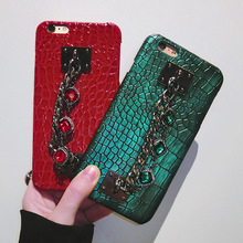 Buy Dower Luxury Fashion Bling Rhinestone Diamond Hand Chain PU Crocodile Leather Hard Back Phone Case iPhone X 8 7 6 6S Plus for $6.36 in AliExpress store