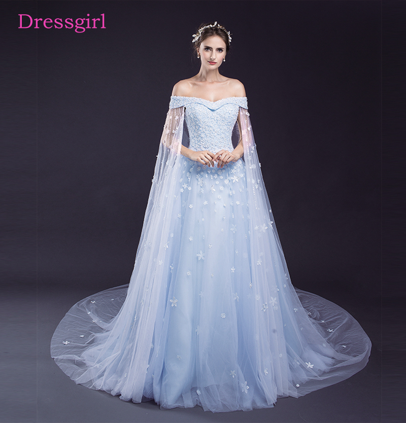 Blue Vestido De Noiva 2018 Wedding Dresses Ball Gown V-neck Shoulder Tulle Lace Beaded Cheap Wedding Gown Bridal Dresses