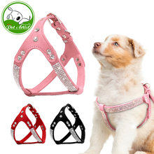 Soft Suede Leather Puppy Dog Harness Rhinestone Pet Cat Vest Mascotas Cachorro Harnesses For Small Medium Dogs Chihuahua Pink(China)
