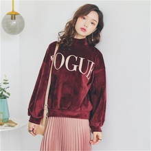 women Letters Gold velvet hoodies Leisure candy color code loose long sleeve harajuku style pullover cashmere(China)