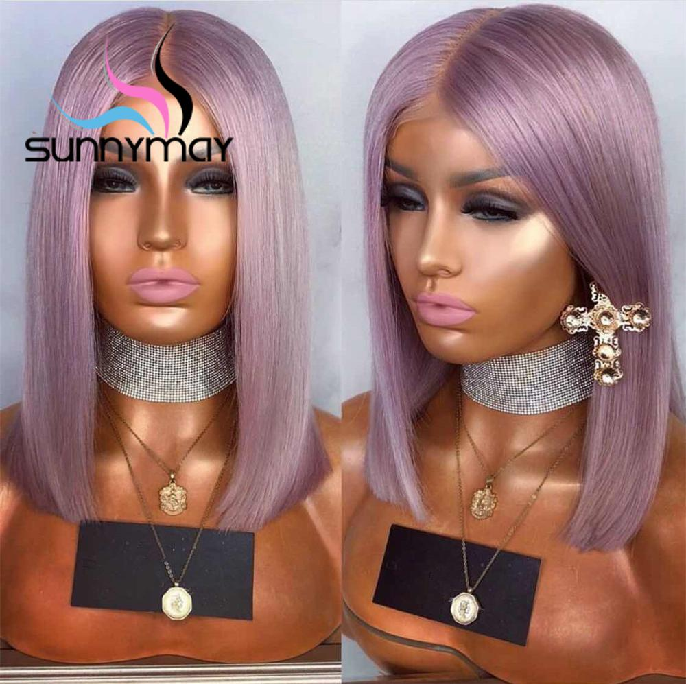 purple lace front human hair wig