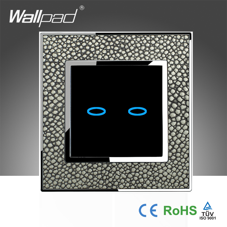 2017 Wallpad Waterproof Pearl Leather + Crystal Glass UK 110~250V 2 Gang 1 Way Electrical Touch Wall Light Switch, Free Shipping<br><br>Aliexpress
