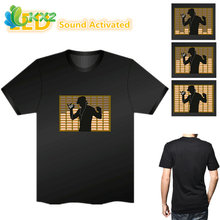 Sound Activated LED T Shirt Light Up Flashing Fashion Metrosexual EL LED T-Shirt Men for Rock Disco Party DJ