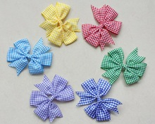 50pcs Cartoon stripe V Pinwheel Princess character Hairbows gingham plaid Hair bows Clips Anna hair ties Accessories HD3355(China)