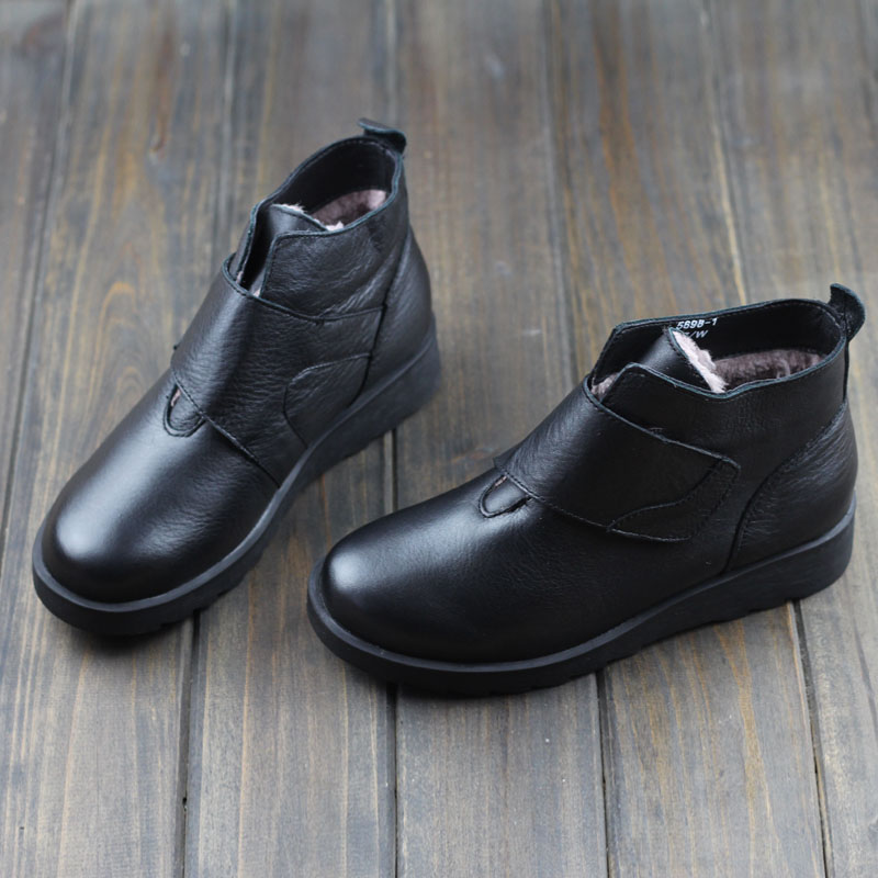 Womens Boots Black Genuine Leather Ankle Boots For Woman Hook&amp;Loop Female Winter Shoes Boots Slip Resistant rubber sole (0296-2<br><br>Aliexpress