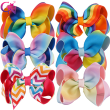 "12 Pieces/lot 4.5"" Rainbow Hair Bows With Clips For Kids Girls Handmade Printed Ribbon Layers Bows Hairgrips Hair Accessories(China)"