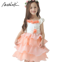 ActhInK Girls Floral Formal Party Dress Sleeveless Tulle Prom Dresses Brand Flower Girls Wedding Dresses Children Clothing,MC027