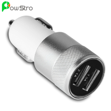 POWSTRO Aluminum 2 USB Ports Universal Dual USB Car Charger For iPhone 5 6 6 plus For ipad 2 3 4 5 For Samsung Galaxy S4 S5