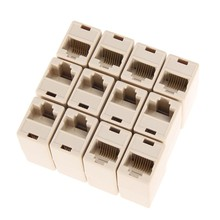 New 50pcs/pack RJ45 CAT5 8P8C Socket Coupler Plug Network Lan Cable Extender Connector Rj45 Adapter Factory Price(China)