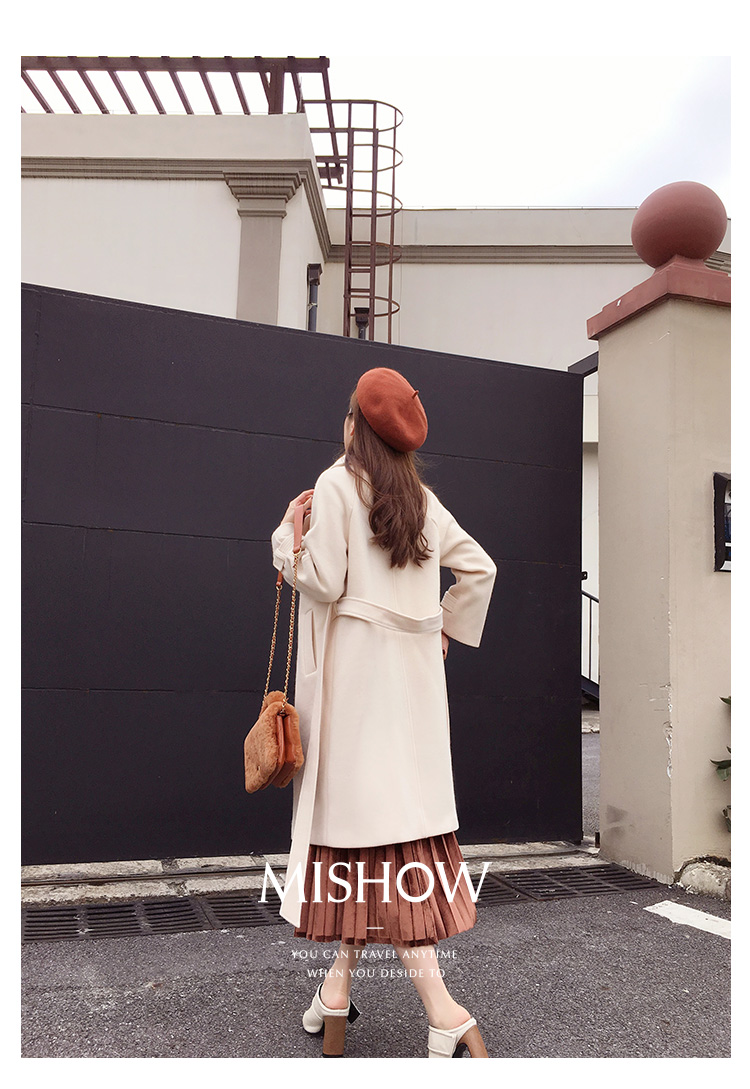 Mishow 19 autumn and winter woolen coat female Mid-Long New Korean temperament women's popular woolen coat MX17D9636 18