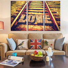 Unframed Canvas Painting Loving Railway Road Art Picture Home Decoration on Canvas Modern Wall Prints Poster Art works 3 Sets(China)