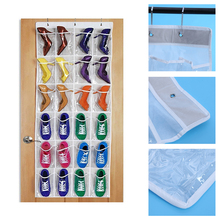 24 Pockets Transparent PVC Hanging Bags Shoes Bag Door Wall Hanger Rack Home Organizer Tidy Storage Bag