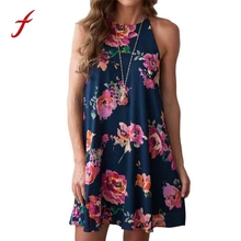 Buy Women Sexy Dress Floral Straps Mini Dress Camisole Sleeveless Dress NEW 2017 Summer Rose Printed Blue Dress Women vestidos playa for $7.52 in AliExpress store