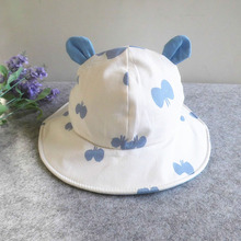 Cute Print Summer Baby Hats for Girls Boys Cotton Toddler Infant Sun Cap with Ears Children Bucket Hat for 1-3 Years