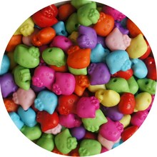 50Pcs/Lot 11mm Cheap New Hellokitty Acrylic Resin Beads Candy Color Acrylic Spacer Beads Children Jewelry Accessoires Wholesale