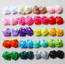 "1.5"" Classical Satin Rosette Flower Without Clips 28 Colors Satin Rosette Flowers 100 Pcs Free Shipping(China)"