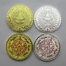 4PCS/Lot  Latin America Mayan Calendar Aztec Gold Coin Silver Souvenir Metal Craft Coins