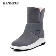 RASMEUP Women's Snow Boots Fashion Elastic Band Women Winter Warm Plush Ankle Boots Woman Black Grey Platform Slip-on Flat Shoe(China)