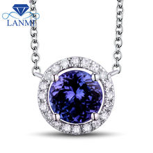 Tanzanite Jewelry Round 7x7mm Natural Tanzanite With Dia In Solid 18Kt White Gold Pendant WP028(China)