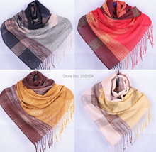 2015 Women Pashimina Jacquard Scarf Women Check Fringe Shawls Wraps Hijabs 5pcs/lot(China)