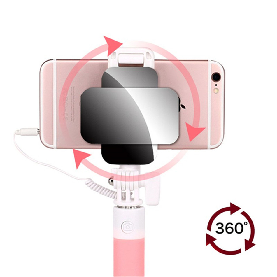 Waterlowrie Mini Wired Extendable Handheld Selfie Stick Monopod with Mirror for Iphone IOS Android Phone Camera Perche