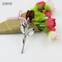 XINTOU Slive Metal Red Crystal Glass Rose Flower Head Figurine Mini Wedding Party Decoration Ornaments Christmas Figurines Craft