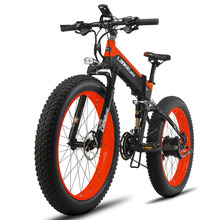 Cyrusher New Folding Electric Bike 500W 48V 10AH Fat Bike Full Suspension 27 Speeds 5 Setting Smart Computer Mountain Snow ebike(China)