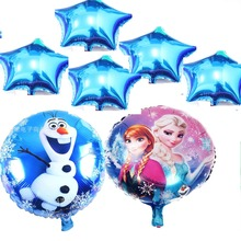 7pcs/lot Round Princess 18Inch Olaf Snow Queen Aluminum Foil Balloons Birthday Party Inflatable Easter Frozen Party Decoration