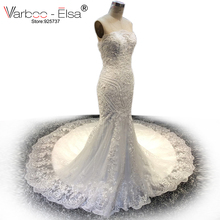 Buy VARBOO_ELSA 2017 High White Lace Wedding Dress Custom Made Mermaid Wedding Dress Beaded Sexy Strapless Long Bridal Gown for $291.60 in AliExpress store