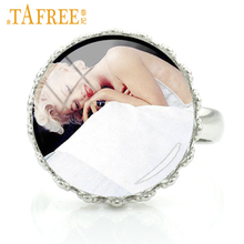 TAFREE Sweet girls Rings movie super star Marilyn Monroe Audrey Hepburn Elvis picture dome Glass beautiful charm jewelry A699(China)