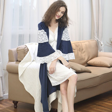 Autumn Winter New Product Lady's Flared Velvet Cardigan Multicolor Nightdress Robe Two-piece Suit Garment With Chest Padding(China)