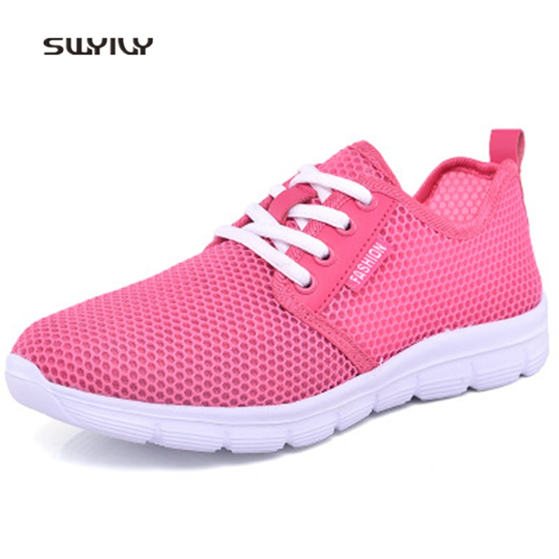 SWYIVY Women Running Shoes Hollow Breathable Super Light Sneakers 2018 Summer Shock Absorption Lace-up Female Athele Shoes