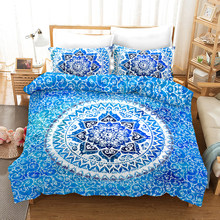 Fanaijia Blue Mandala Bedding Set Queen Size Bohemian Duvet Cover with Pillowcase Set Bed Boho Bed Linen(China)