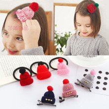 Shapu children knitting hat high elastic hair band for girls rubber band hair clips baby hair accessories kids headwear hairpin