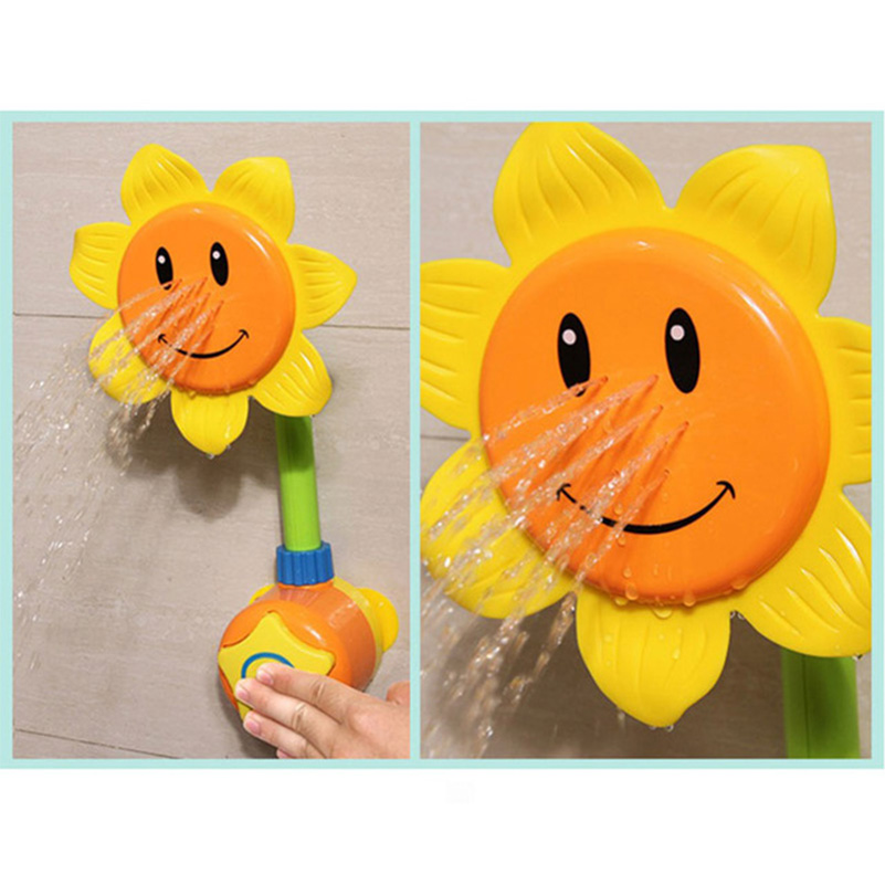 New Baby Bath Toy Children Pool Swimming Toys Sunflower Shower Faucet Shower 0-12 Months Bath Learning Toy Gift Yellow Green<br><br>Aliexpress