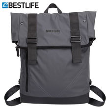 BESTLIFE Men Casual Backpacks PU Leather Flip Mochila Escolar Fashion Male Urban Waterproof Laptop Travel Bags Bagpack Rucksack(China)